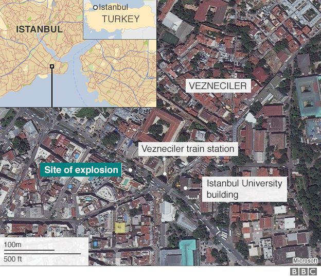 Map showing site of the blast in Turkey