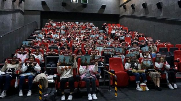 Students at Seoul Women's University at a screening of Korean film Miss Baek