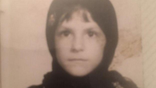 Feranak Amidi in hijab in ID card aged 6
