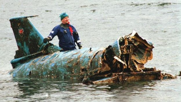 Engineer Bill Smith with the salvaged wreckage in 2001