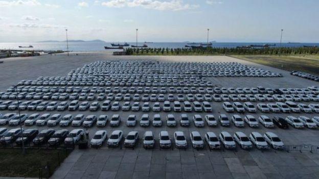 Yenikapı'ya çekilen araçlar