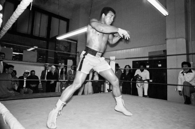 Muhammad Ali trains at Gleason's ahead of a championship bout in 1976