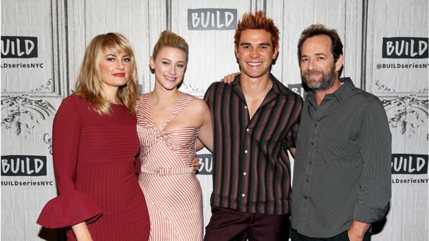 L-R) Madchen Amick , Lili Reinhart, K. J. Apa and Luke Perry attend the Build Series to discuss 'Riverdale' at Build Studio on October 8, 2018