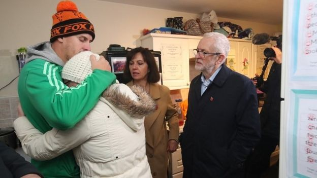 Jeremy Corbyn with flood victims in Conisborough