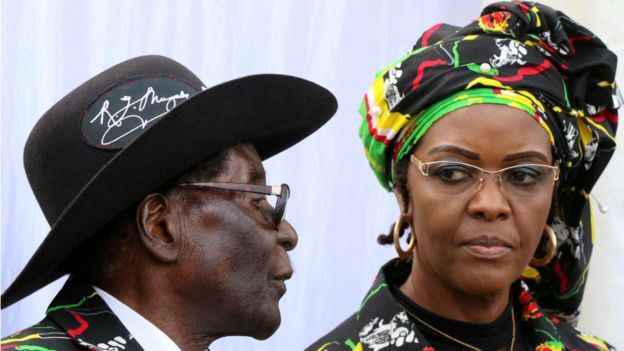 Robert Mugabe and wife Grace Mugabe