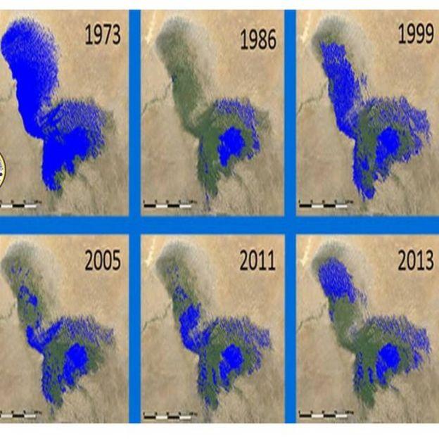 Mapas de la reducción del lago Chad. Foto: Facebook de la Comisión de la Conferencia Internacional de la Cuenca del Lago Chad.