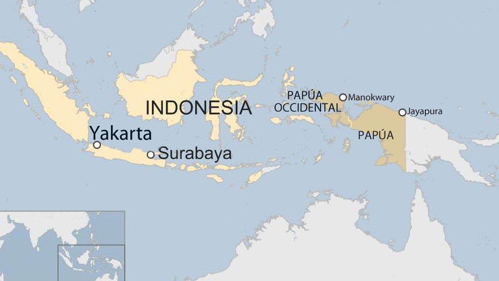 Mapa Papúa, Indonesia