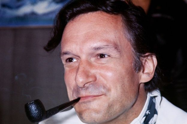 This file photo taken on August 21, 1970 shows US Playboy Magazine publisher Hugh Hefner giving a press conference at Le Bourget airport in France