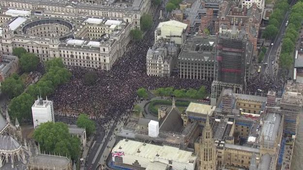 Crowds gather in Parliament Square