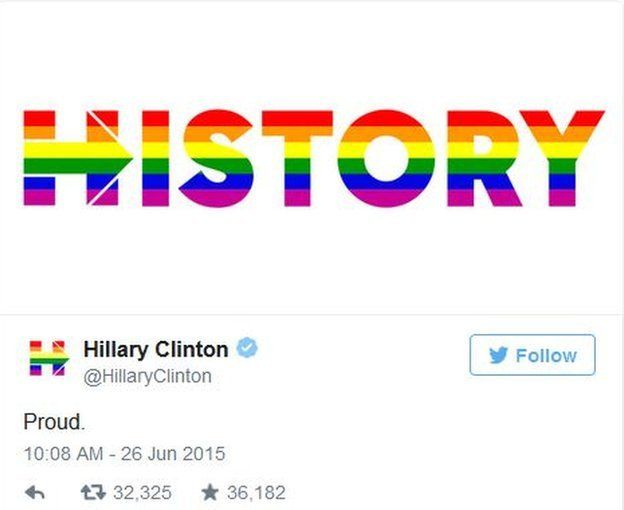 """Hillary Clinton tweets """"history"""" in rainbow letters."""