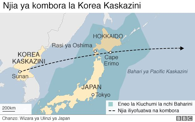Njia iliyopitia kombora la Korea Kaskazini