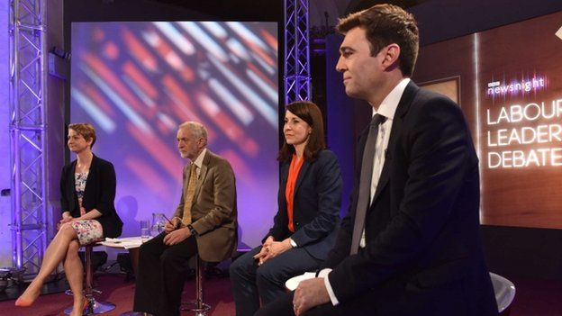 Yvette Cooper, Jeremy Corbyn, Liz Kendall and Andy Burnham at the Labour leadership election debate