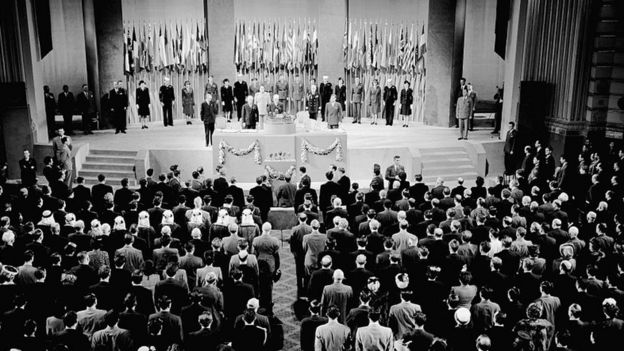 First UN meeting in San Francisco in 1945.