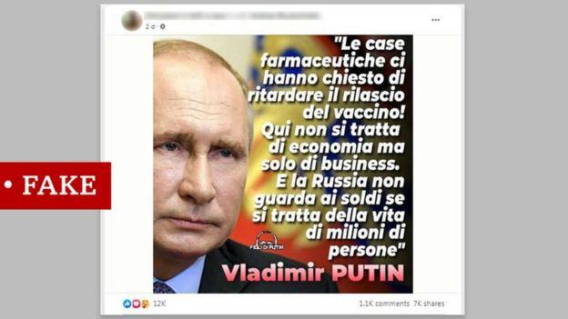 اقتباس مزيف منسوب إلى الرئيس بوتين باللغة الإيطالية