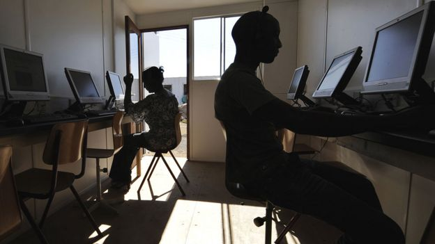People in a cyber cafe
