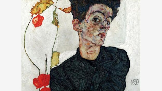 席勒画作中遭受折磨、扭曲的人物形象在维也纳几乎无人欣赏。