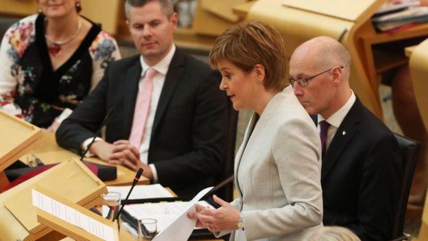 Nicola Sturgeon addressing Holyrood