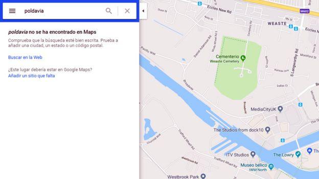 Mapa de Google indicando que no encuentra Poldavia.