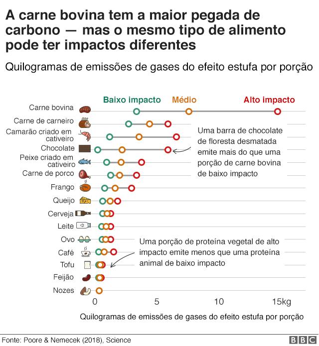 Gráfico mostra impacto dos alimentos