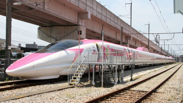 5ff0ec4a5 ... A Shinkansen train adorned with special livery bearing popular  character Hello Kitty