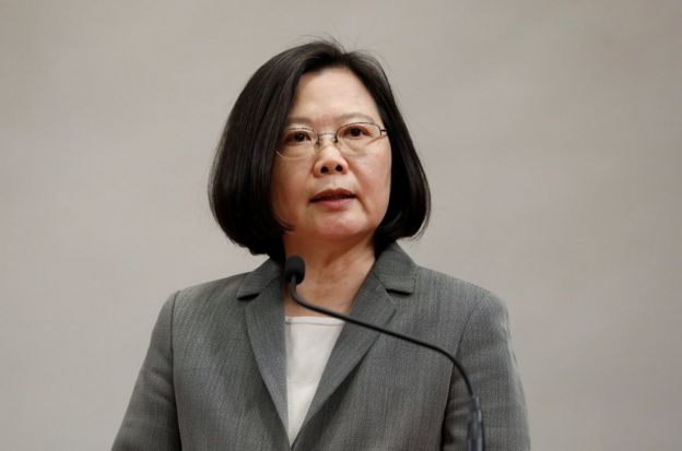 Taiwanese President Tsai Ing-wen attends a news conference to announce the new Presidential Office secretary-general in Taipei, Taiwan April 11, 2018. REUTERS/Tyrone Siu