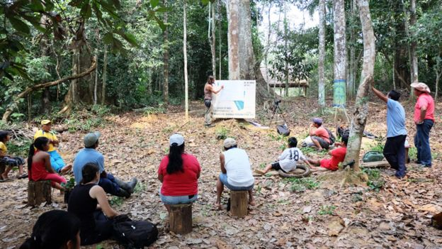 Carlos Magdalena, en la selva amazónica boliviana, con una pancarta apoyada en un árbol, rodeado de pobladores de Motacusal