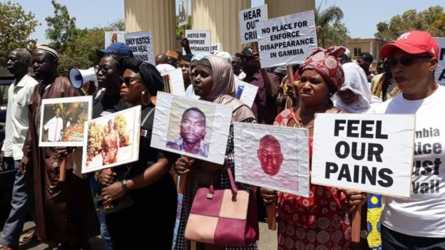 Protesters in The Gambia calling for justice for those who disappeared during Mr Jammeh's time in office