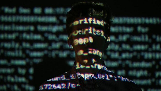 Algorithm projected on a face.