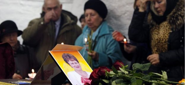 Funeral for Nina Lushchenko in Velikiy Novgorod, 5 November 2015