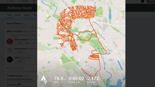 Cyclist's Cardiff route makes face on Strava app map - BBC News on map a run, map a cut, map a drive, map a path, map a course, map a process, map a distance,