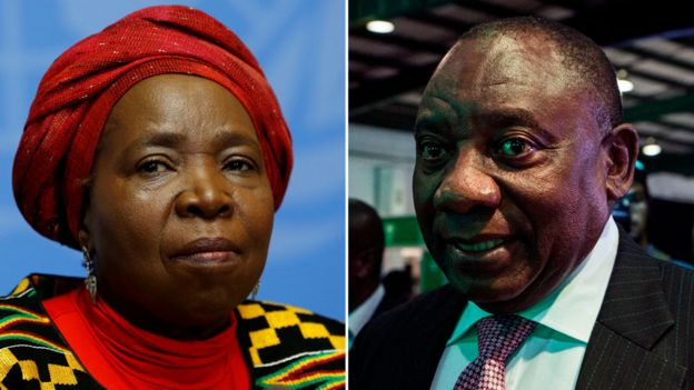 A composite showing Nkosazana Dlamini-Zuma and Cyril Ramaphosa