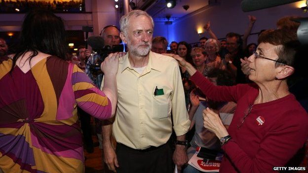 Jeremy Corbyn at campaign rally in London