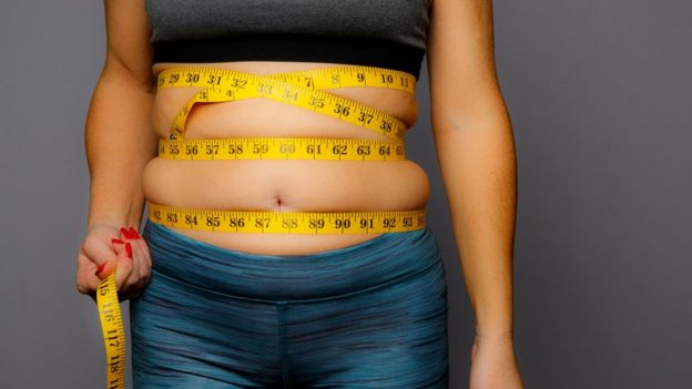Woman with measuring tape through tummy.