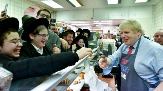 Boris Johnson campaigning at a Jewish bakery