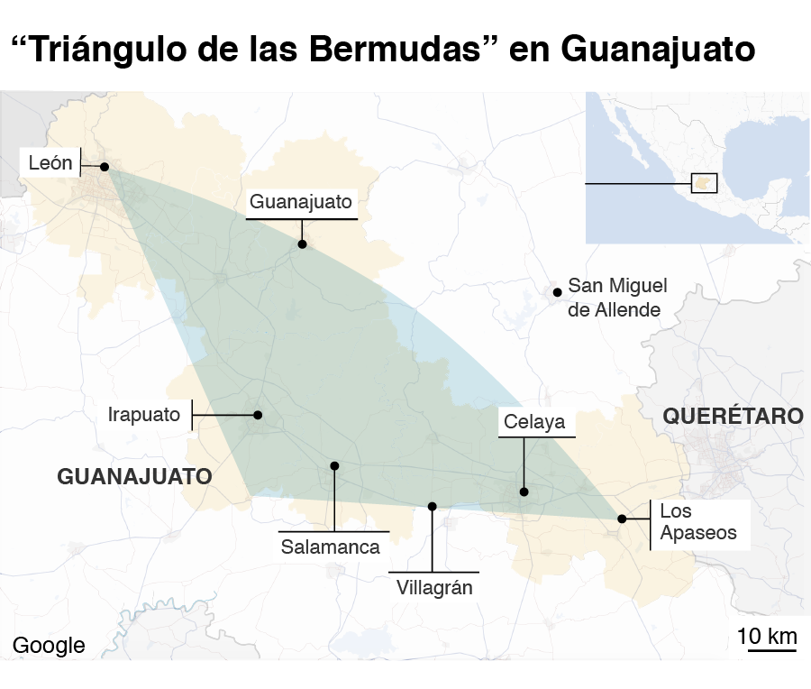 Mapa triángulo Guanajuato
