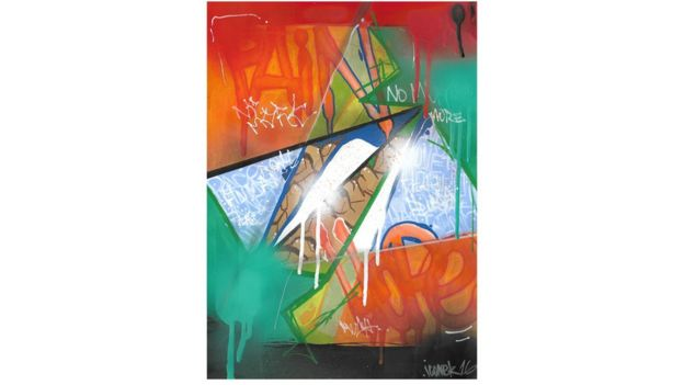 Obra de arte que mistura cores e palavras