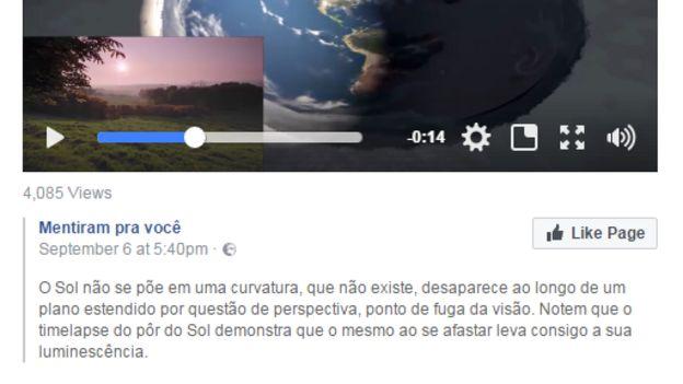 Postagem de vídeo em um grupo de Terra Plana