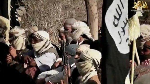 Al-Qaeda in the Arabian Peninsula militants appear in a March 2014 video
