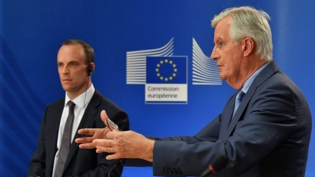Michel Barnier and Dominic Raab