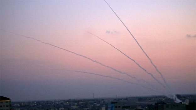 Rockets are launched from the Gaza Strip on 12 November 2018
