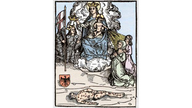 Ilustração da sífilis feita na Idade Média