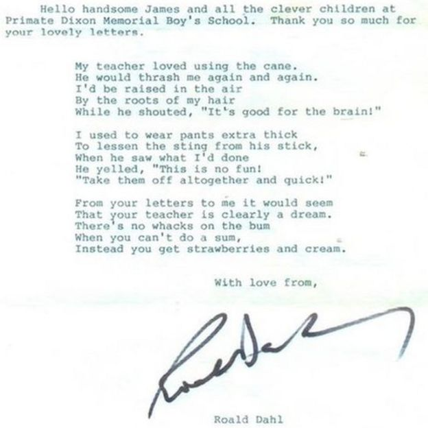 Roald Dahl Long Lost Poem Recovered By Tyrone School Bbc News