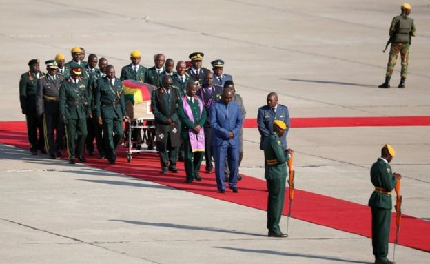 Mr Mugabe's body arrives at Harare airport