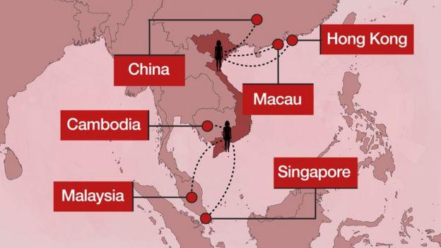 Các tuyến đi nước ngoài từ Việt Nam của một số phụ nữ làm nghề mại dâm