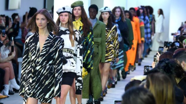 Models on the catwalk at London Fashion Week