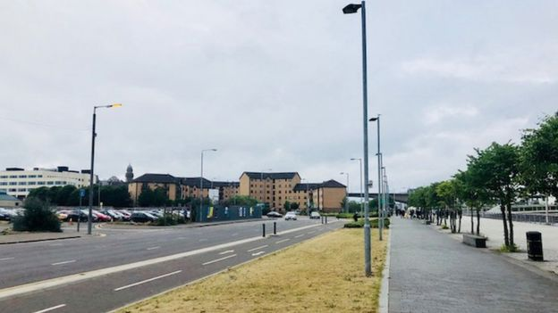 The site of the new Barclays hub on Clyde Place, Glasgow