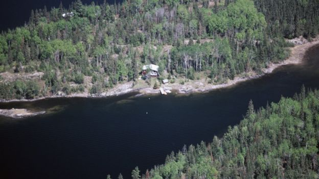 Aerial view from Ontario, Canada of Lake of the Woods