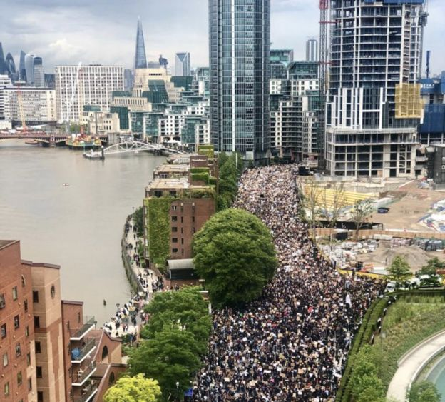 Protesters gather near US Embassy in south London on Sunday 7 June
