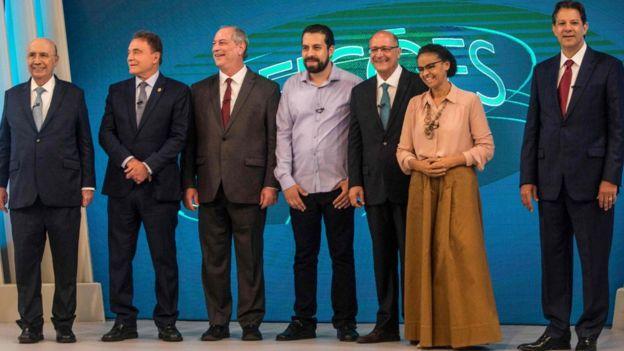 Candidatos no debate da TV Globo