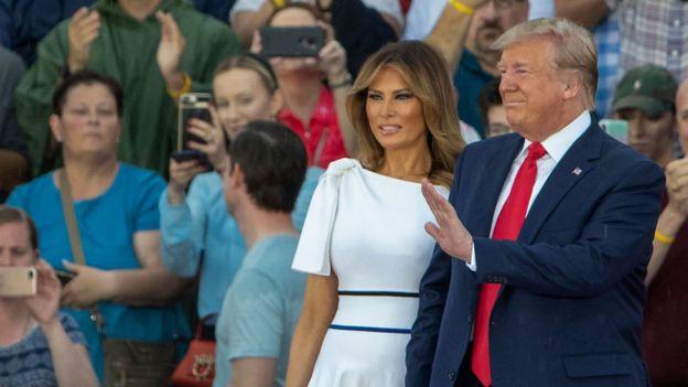 Melainia y Donald Trump durante el acto de homenaje a EE.UU. por el Día de la Independencia